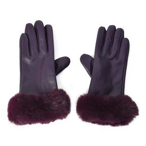 Touchscreen Gloves  Faux Fur Leather Purple